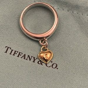 Authentic Tiffany & Co. Heart Lock Charm in 18K Yellow Gold Ring Size 6 (Unused)